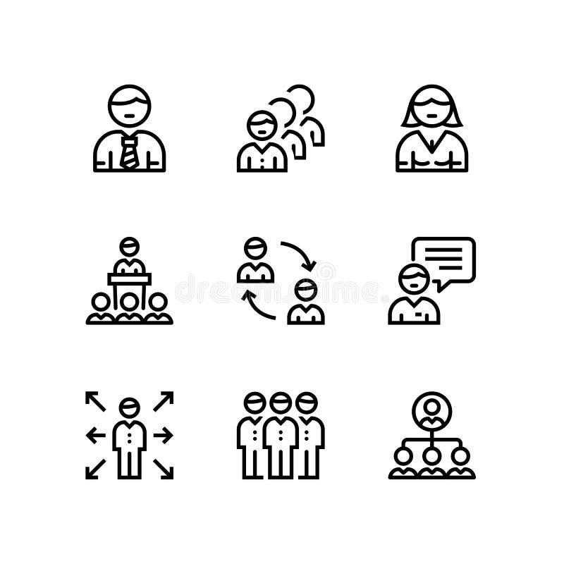 Hombres de negocios, reunión, iconos simples del vector del trabajo del equipo para el web y paquete móvil 1 del diseño stock de ilustración