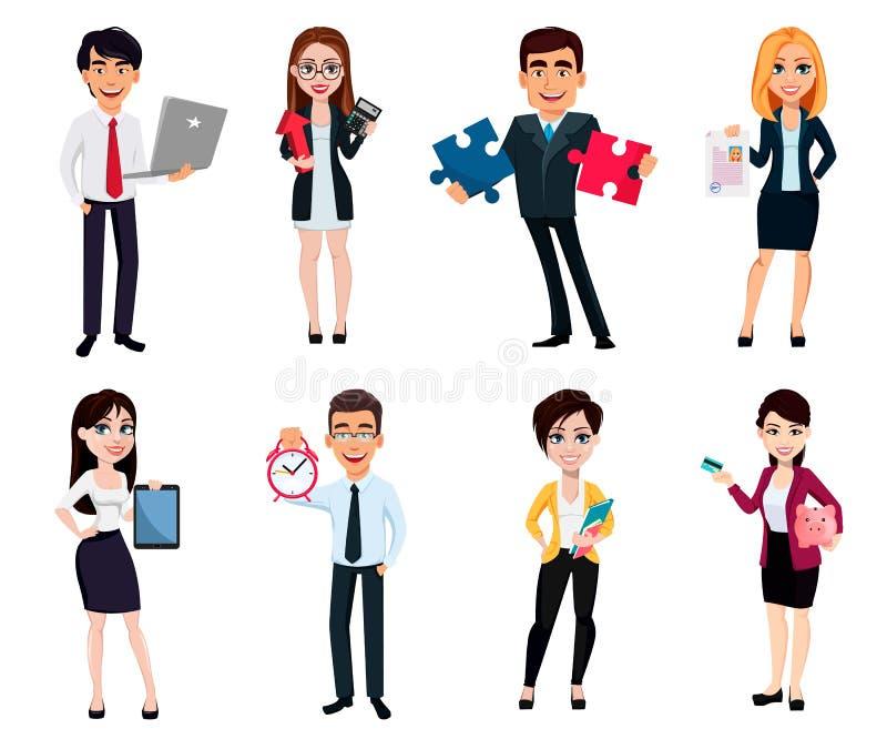 Hombres de negocios, sistema de ocho actitudes stock de ilustración