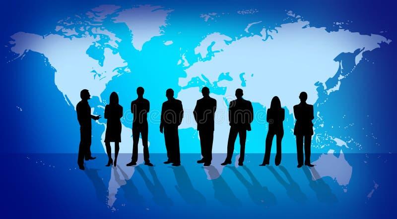 Hombres de negocios sobre correspondencia de mundo stock de ilustración