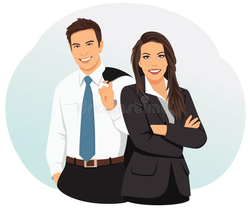 Hombres de negocios sonrientes stock de ilustración