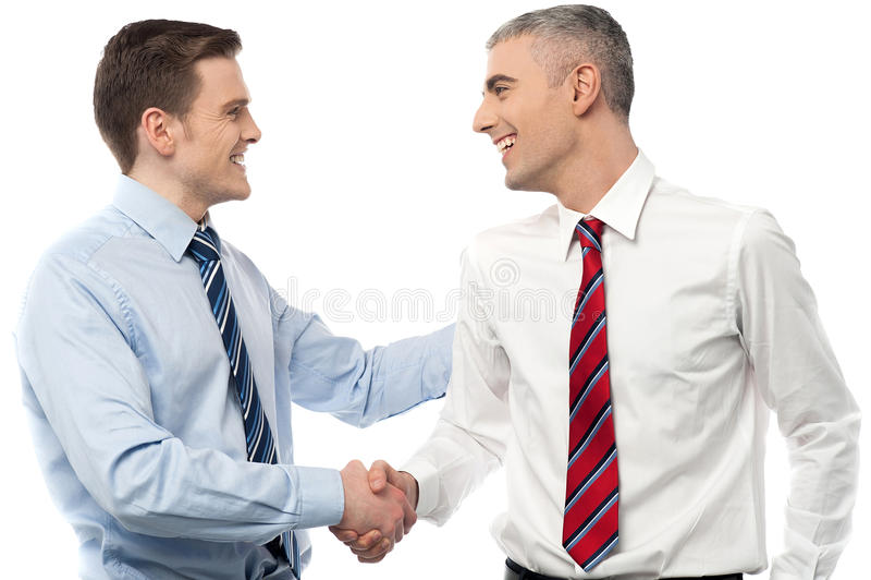 Hombres de negocios sonrientes que sacuden las manos imagen de archivo libre de regalías