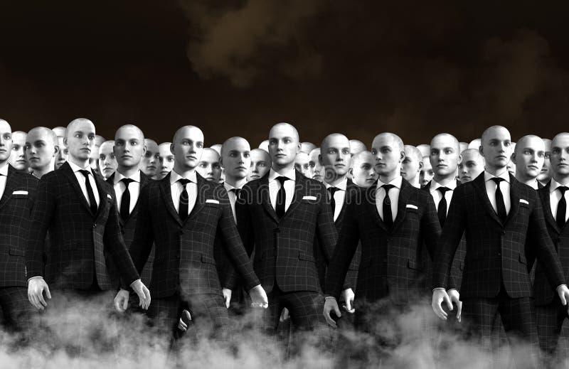 Hombres de negocios surrealistas Team Crowd imagen de archivo