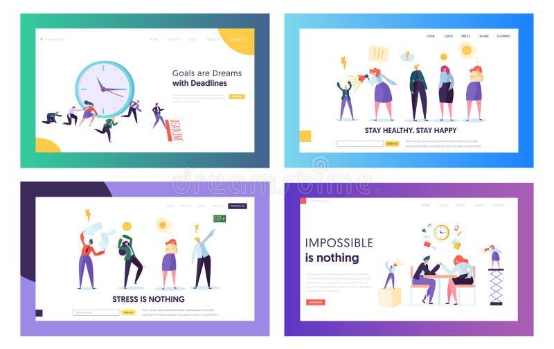 Hombres de negocios trabajadores subrayados en sistema de las plantillas de la página del aterrizaje de la página web de la ofici libre illustration