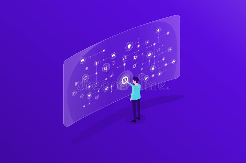 Hombres de negocios y conexi?n de red en l?nea de Internet del funcionamiento y del uso del equipo ilustración del vector