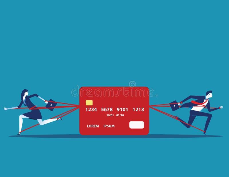 Hombres de negocios y deuda confiada con la tarjeta de crédito Ejemplo del vector del negocio del concepto ilustración del vector