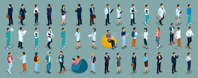 Hombres de negocios y empresarias determinados isométricos stock de ilustración