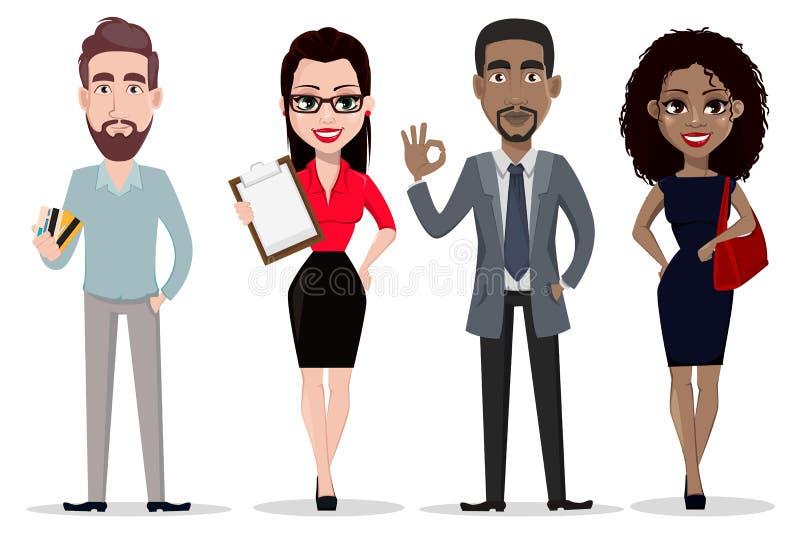 Hombres de negocios y mujeres de negocios afroamericanos y caucásicos stock de ilustración