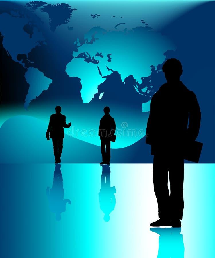 Hombres de negocios y mundo-correspondencia stock de ilustración