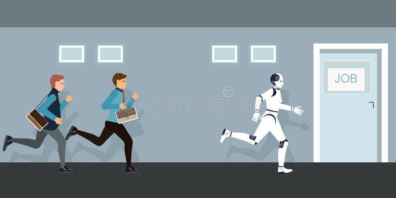 Hombres de negocios y robot que compiten a la puerta del trabajo stock de ilustración