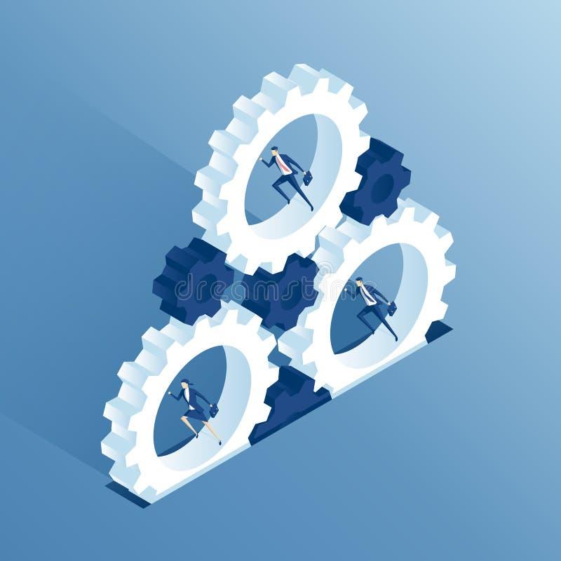 Hombres de negocios y ruedas dentadas isométricos ilustración del vector