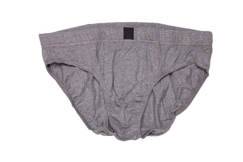 Hombres de Underware aislados Primer del underware masculino gris o calzoncillos aislados en un fondo blanco Ropa para el hombre fotografía de archivo