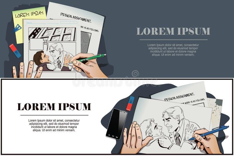 Hombres del conflicto Hombre de negocios de la lucha stock de ilustración