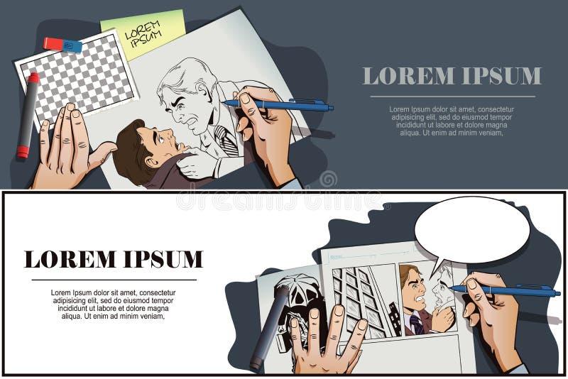 Hombres del conflicto Hombre de negocios de la lucha ilustración del vector