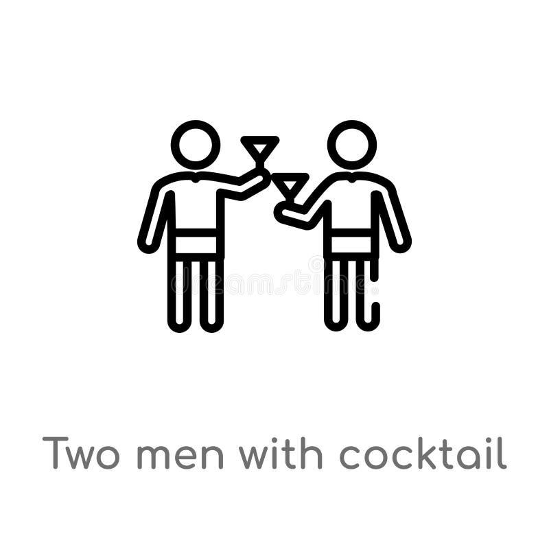 hombres del esquema dos con el icono del vector de los vidrios de cóctel línea simple negra aislada ejemplo del elemento del conc stock de ilustración