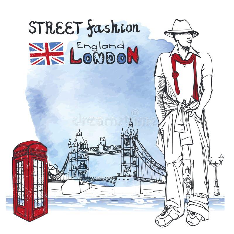 Hombres del tipo de Londres Moda de la calle Fondo del chapoteo de la acuarela stock de ilustración