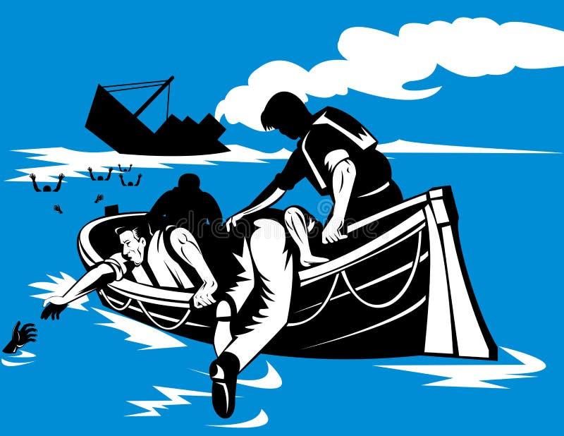 Hombres en el bote salvavidas con la nave de hundimiento stock de ilustración