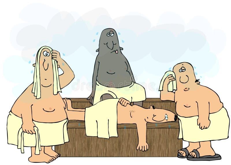 Hombres en una sauna stock de ilustración