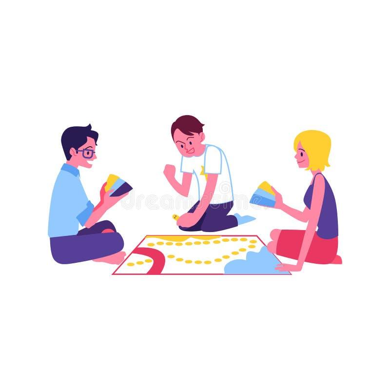 Hombres felices del vector, mujer que juega al juego de mesa ilustración del vector
