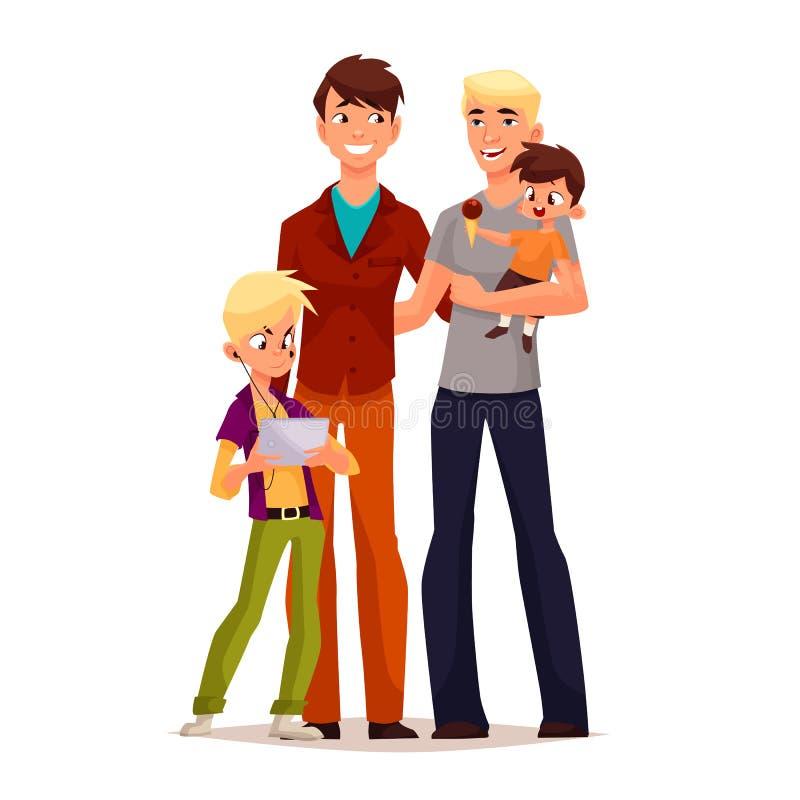Hombres gay de la familia con los niños libre illustration