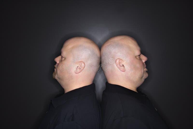 Hombres gemelos calvos de nuevo a la parte posterior. fotografía de archivo libre de regalías