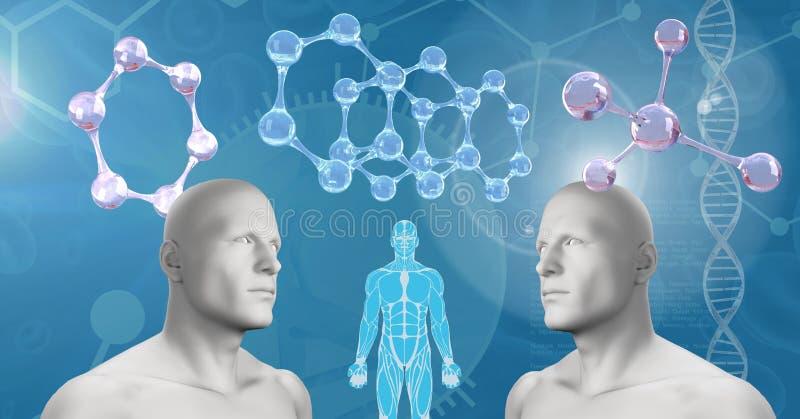 Hombres gemelos 3D de la copia con la DNA genética stock de ilustración