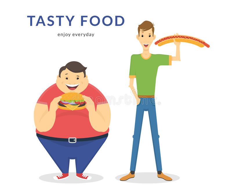 Hombres gordos y finos felices que comen una comida grande ilustración del vector