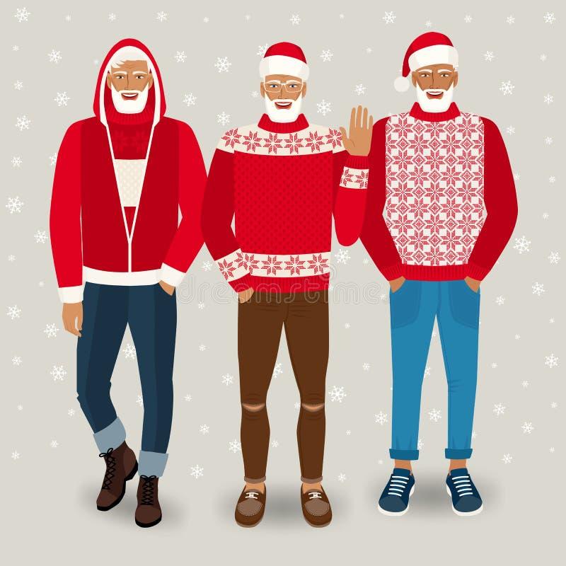 Hombres hermosos vestidos como Santa Claus ilustración del vector