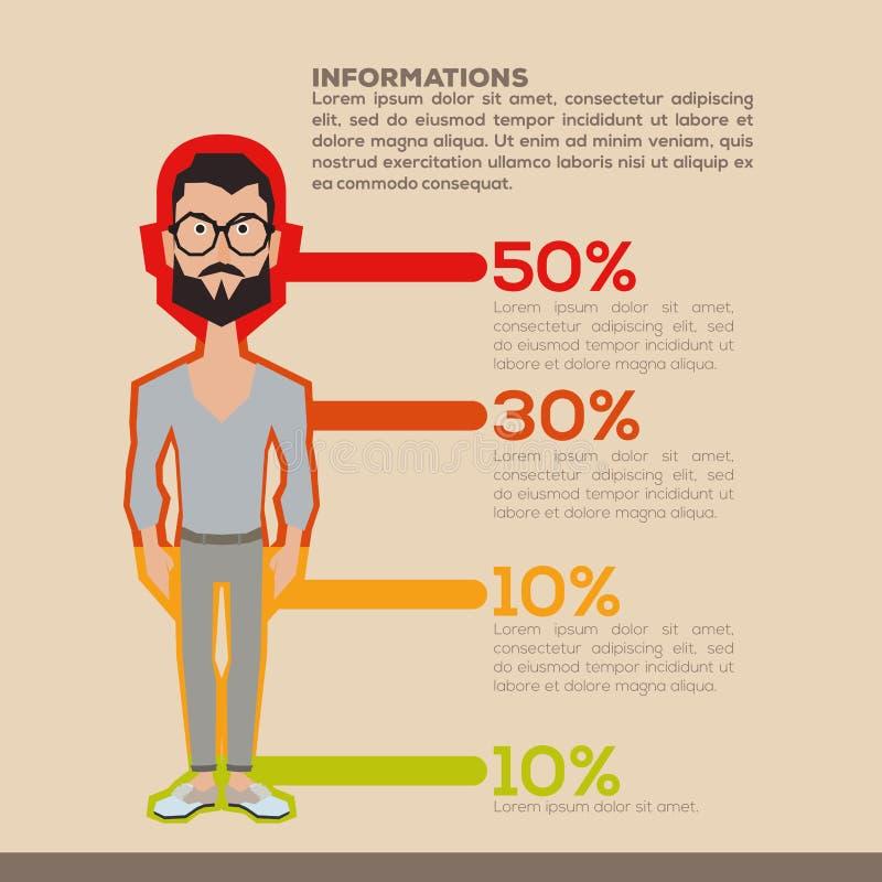 Hombres infographic stock de ilustración