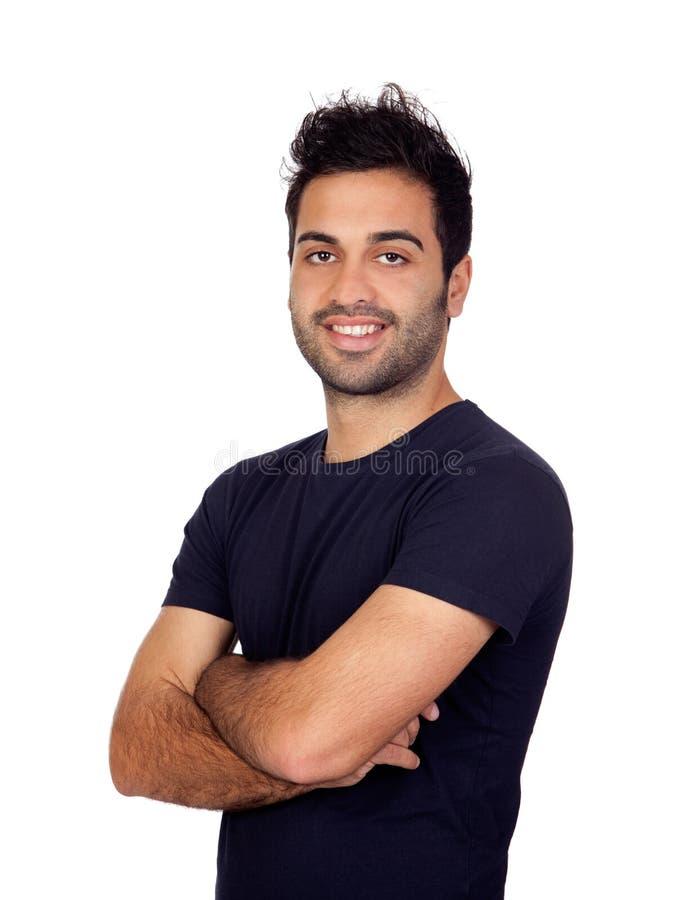 Hombres jovenes atractivos en negro fotos de archivo
