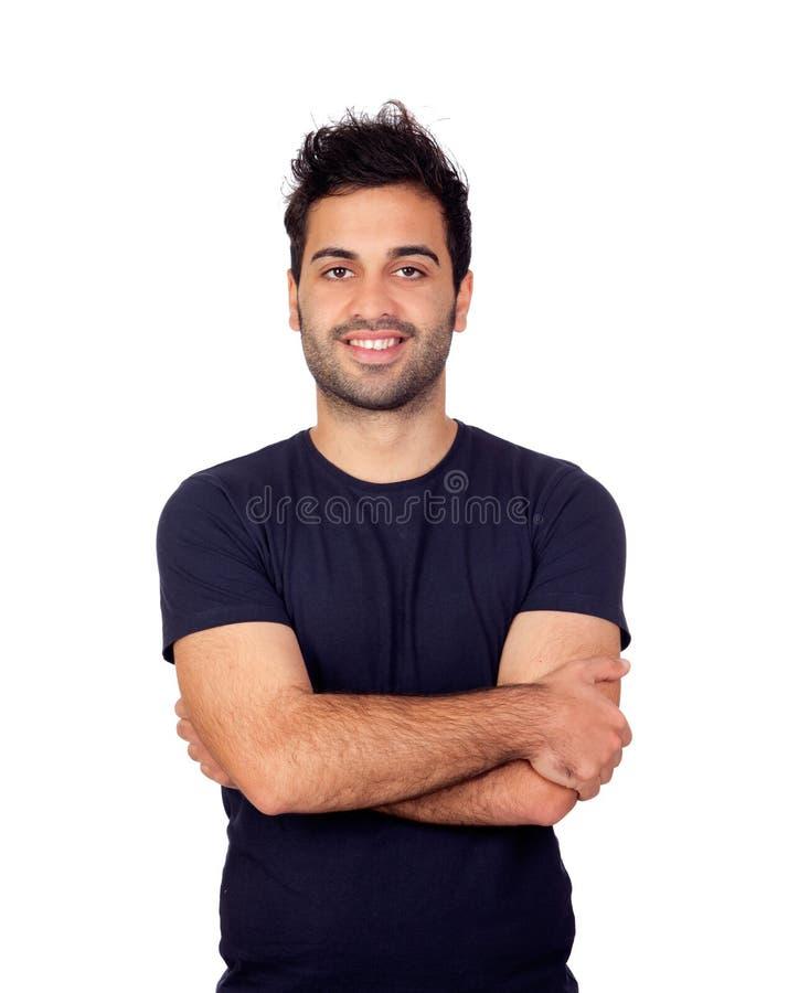 Hombres jovenes atractivos en negro foto de archivo libre de regalías