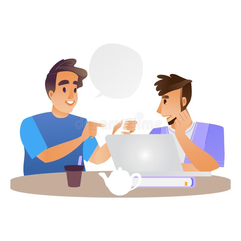 Hombres jovenes del vector que hablan en la taza de té y de ordenador portátil libre illustration