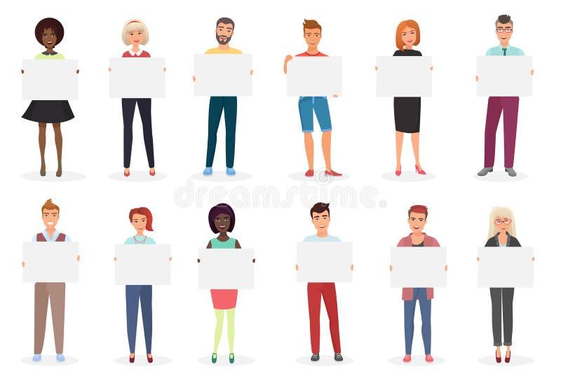 Hombres jovenes felices y gente sonrientes de las mujeres que lleva a cabo los carteles vacíos limpios, tarjetas, carteles, ejemp ilustración del vector