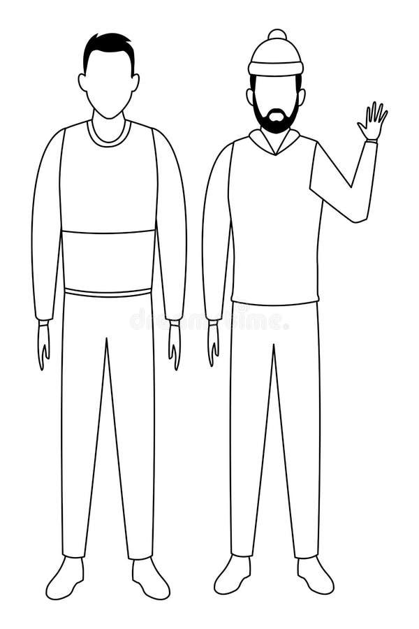Hombres jovenes que llevan el suéter blanco y negro libre illustration
