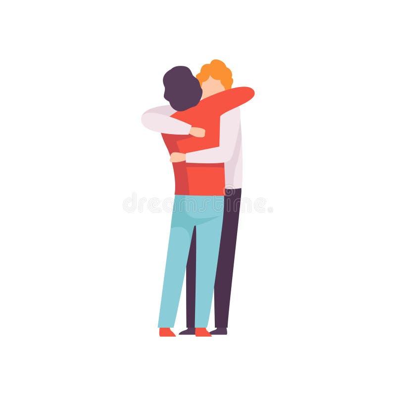 Hombres jovenes que se abrazan, reunión feliz, gente que celebra el acontecimiento, mejores amigos, vector del concepto de la ami libre illustration