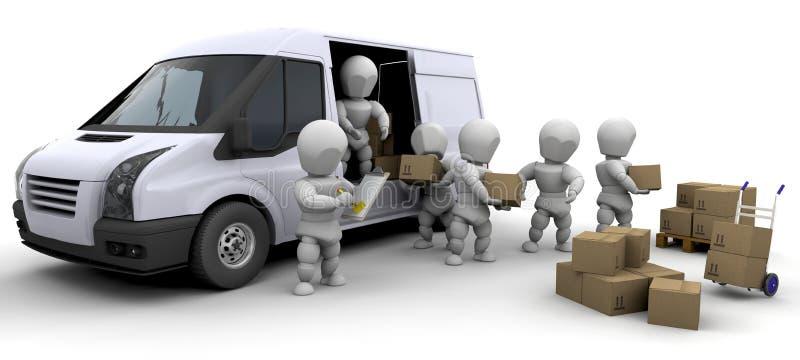 hombres móviles 3D que manejan los materiales stock de ilustración
