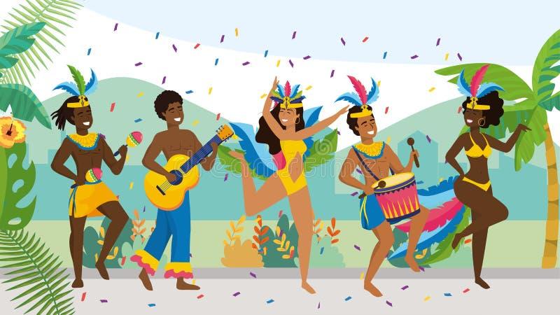 Hombres músico y bailarín de las muchachas con el traje de la moda ilustración del vector