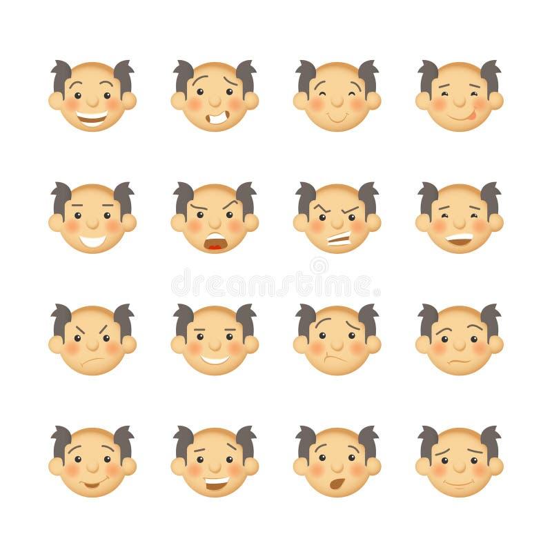 Hombres mayores con las mejillas atractivas Avatares y emoticons del vector fijados stock de ilustración