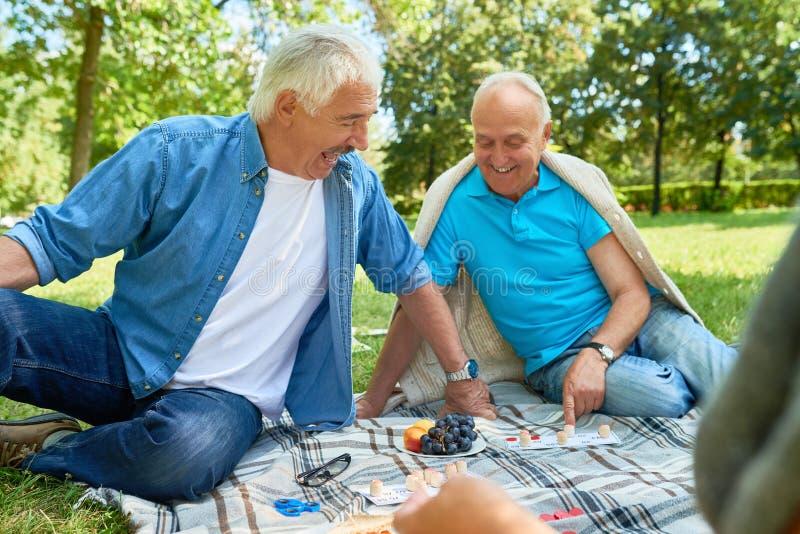 Hombres mayores que disfrutan de juegos en parque imagen de archivo