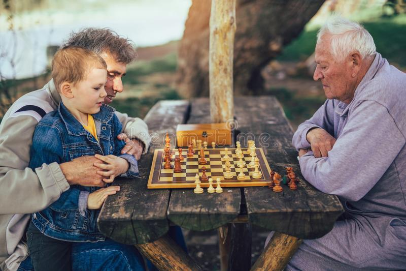 Hombres mayores que se divierten y que juegan a ajedrez en el parque imagen de archivo
