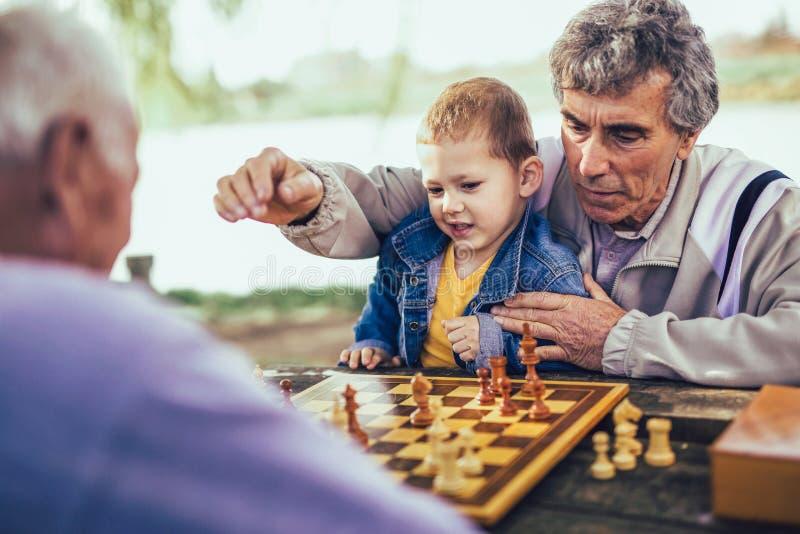 Hombres mayores que se divierten y que juegan a ajedrez en el parque imágenes de archivo libres de regalías