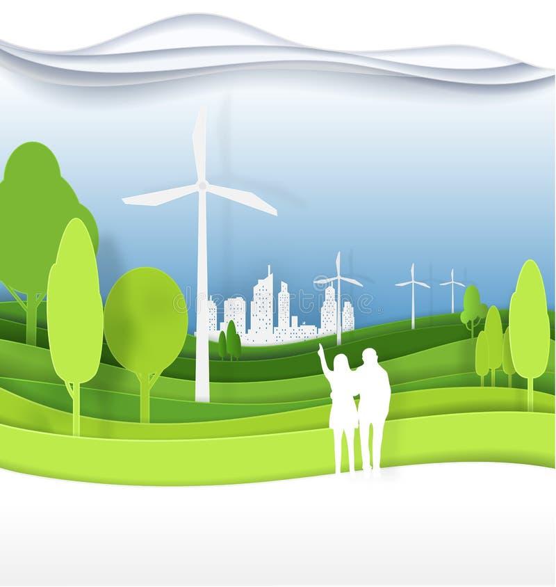 Hombres, mujeres, pares en la ciudad verde para la vida La c respetuosa del medio ambiente stock de ilustración
