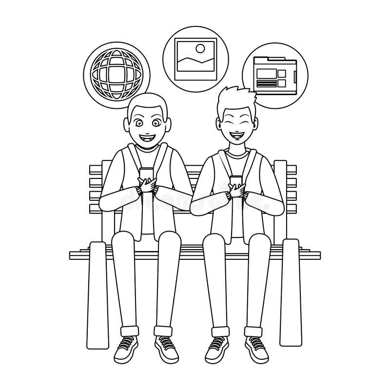 Hombres que comprueban la red social con smartphones ilustración del vector