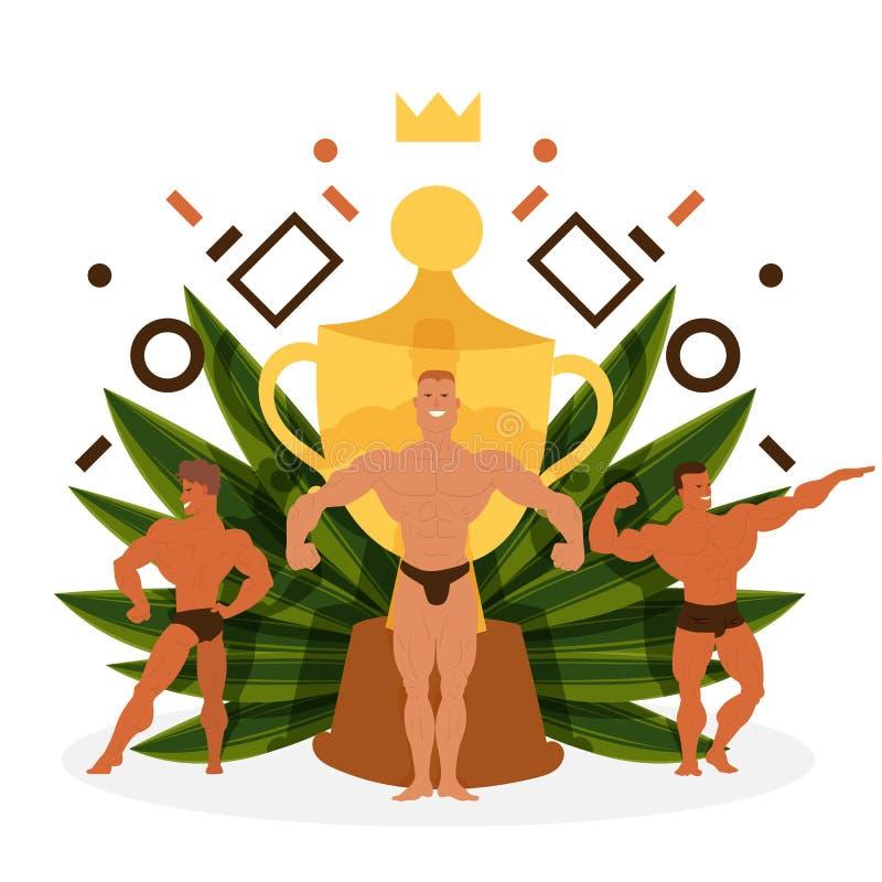 Hombres que ganan el ejemplo del vector de la bandera del trofeo o de la taza Hombres del culturista del músculo que doblan sus m ilustración del vector