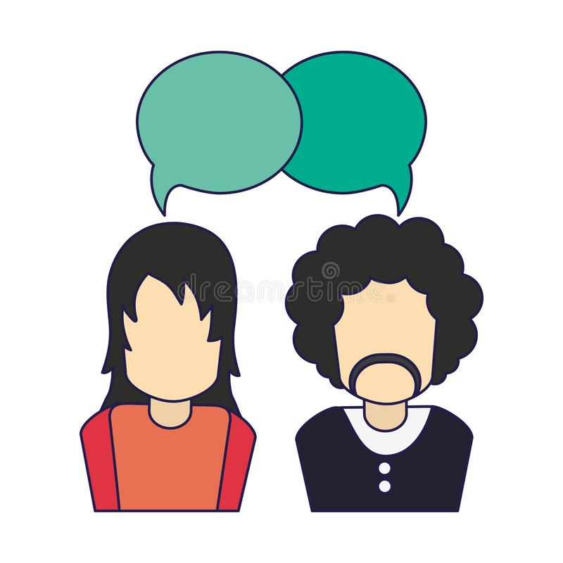Hombres que hablan al avatar stock de ilustración