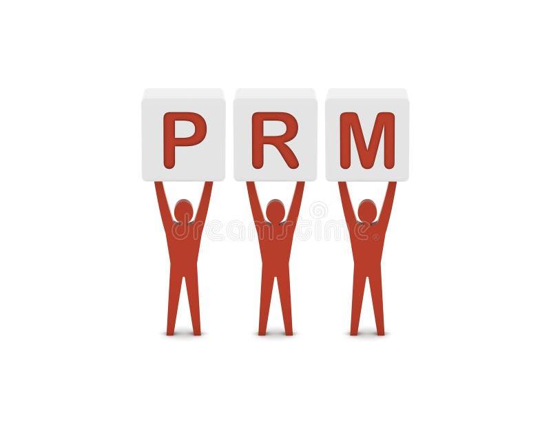 Hombres que llevan a cabo a la gestión de la relación de la palabra PRM.Partner. stock de ilustración