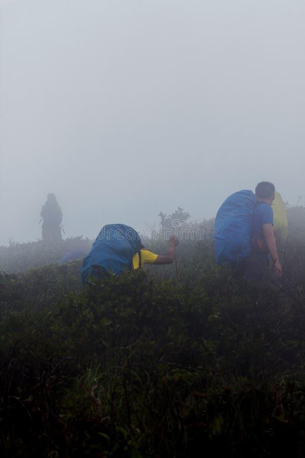 Hombres que llevan las mochilas, caminando encima de las montañas imagenes de archivo