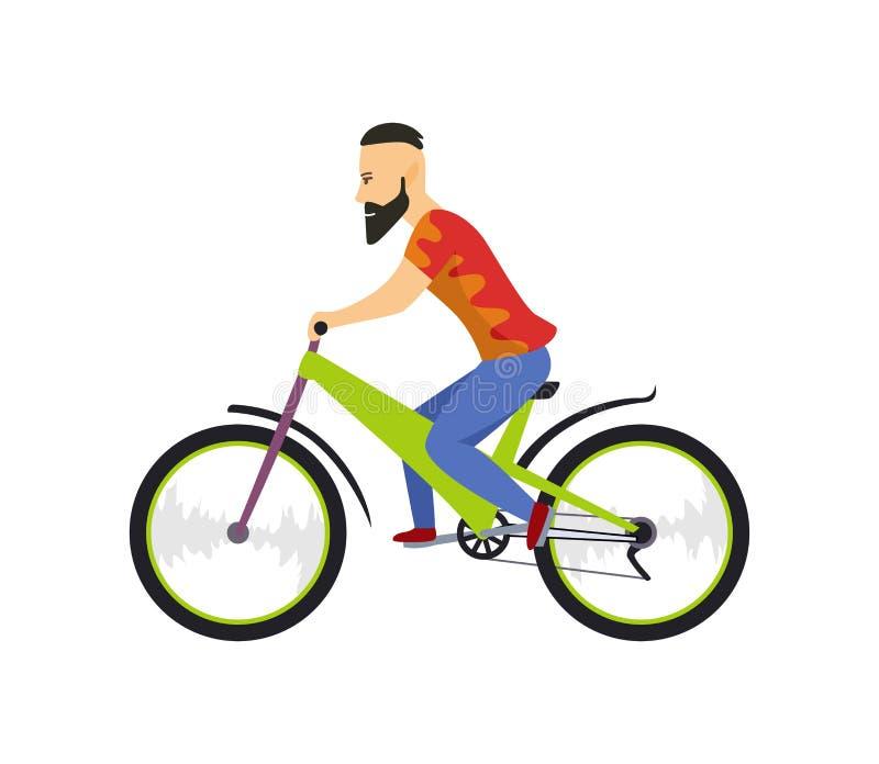 Hombres que montan la bicicleta Con la bicicleta y el muchacho en ropa de deportes Diseño de personaje de dibujos animados Ejempl libre illustration