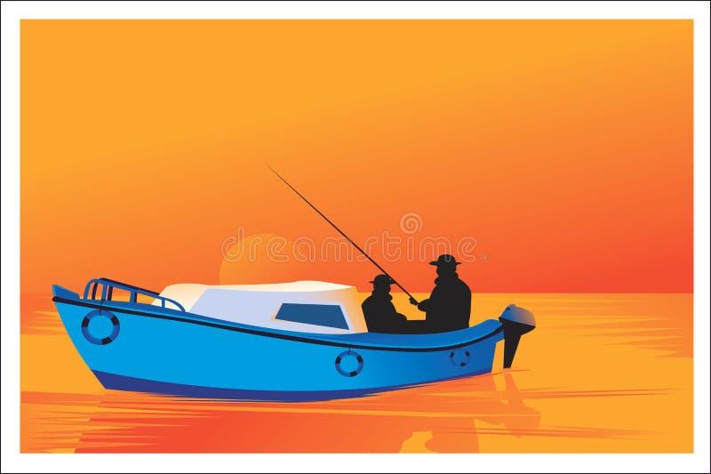 Hombres que pescan con el barco stock de ilustración