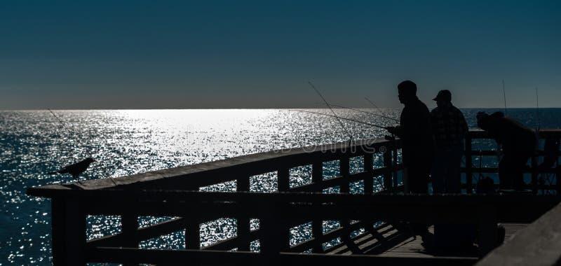 Hombres que pescan del embarcadero con trole imagen de archivo libre de regalías