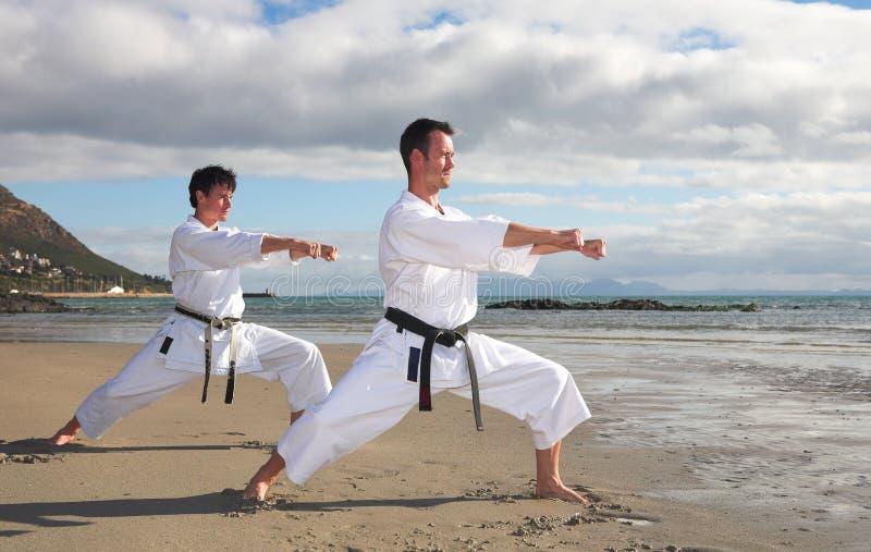 Hombres que practican karate foto de archivo